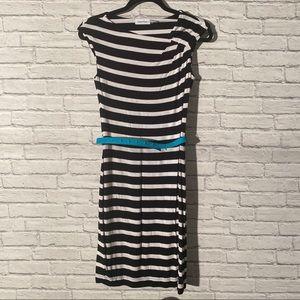 Calvin Klein Black and White Striped Midi Dress